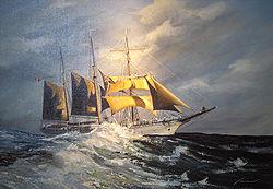 le Mercator en haute mer  peinture par Yasmina (Ostende, Belgique)