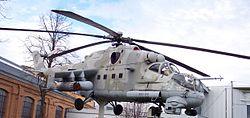 Un hélicoptère d'attaque Mil Mi-24 d'origine soviétique