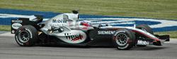 Juan Pablo Montoya lors des qualifications du Grand Prix des États-Unis au volant de la MP4-20