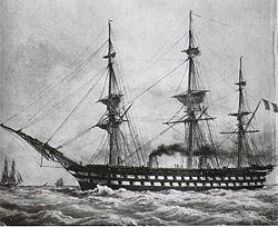 le vaisseau de première ligne à vapeur Napoléon en 1850