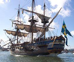 Dunette richement décorée sur le trois-mâts Götheborg.