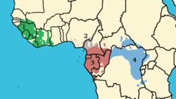Répartition des sous-espèces de Pan troglodytes: