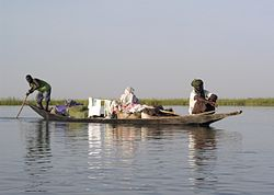 Pinasse (pirogue) sur le Niger au Mali.