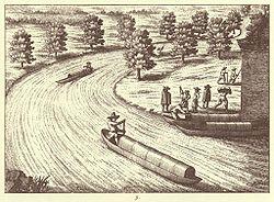 Embarcation de type pirogue utilisées en Europe, ici vers 1689, sur la rivière Ljubljanica en Slovénie),.