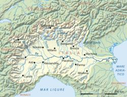 Carte du bassin hydrographique du Pô.