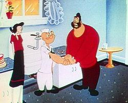 Olive, Popeye et Brutus dans Floor Flusher (1953)