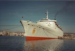 Le Queen Elizabeth 2 converti en transport de troupes durant la guerre des Malouines.
