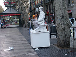 Statues vivantes sur La Rambla