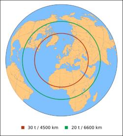 Autonomie des Airbus A400M. Rouge: Avec une charge utile de 30 tonnes, le rayon d'action est de 4500 km. Vert: Avec 20 tonnes, celui - ci s'étend à 6600 km