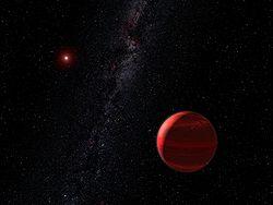 Vue d'artiste d'une planète autour d'une naine rouge