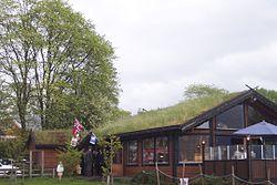 Toit vert abritant un restaurant, (Norvège)