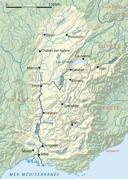 Carte du bassin du Rhône.
