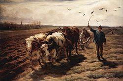 Labour à quatre avec un joug de garrot, de Rudolf Koller (1868)