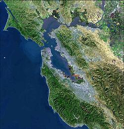 La baie de San Francisco, vue de satellite