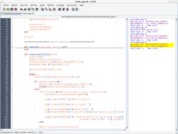 Coloration syntaxique sur un programme en Ruby sous SciTE.