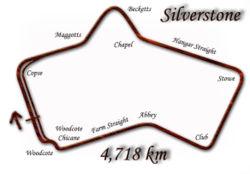 Silverstone de 1975 à 1986: le virage rapide de Woodcote a été transformé en chicane.