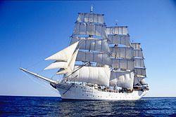 Le Christian Radich sous voile, photo aimablement offerte par la fondation Christian Radich Sail Training, propriétaire du navire