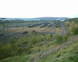 Le faisceau de départ lent de la gare de triage de Tinsley à Sheffield.