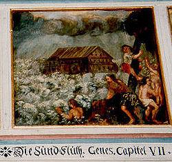Peinture d'une église luthérienne près de Bamberg, en Haute-Franconie: à l'arrivée des eaux, seuls les êtres vivants réfugiés sur l'arche de Noé purent survivre, et tous les autres trouvèrent la mort. (Genèse 7:21)