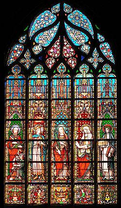Vitrail du XIXesiècle par Samuel Coucke (1861). Église Notre-Dame des Victoires au Sablon à Bruxelles