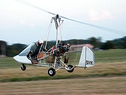 ULM Autogire à l'atterrissage
