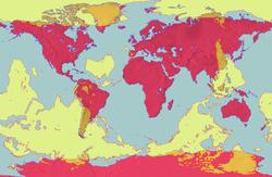 À cette carte du monde traditionnellement orientée (en rouge) est superposée une carte antipodale (en jaune) afin de faire resortir les antipodes de chaque point du globe