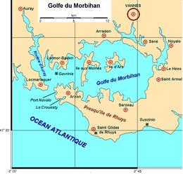 Carte du golfe du Morbihan avec ses 2 îles principales