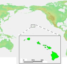 Carte avec l'état d'Hawaï en vert.