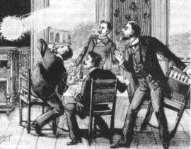 Gravure du XIXe siècle illustrant le phénomène de foudre en boule