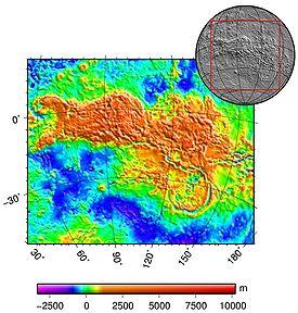 Topographie d'Aphrodite Terra, avec Ovda Regio à l'ouest, Thetis Regio à l'est, et Artemis Corona au sud-est.