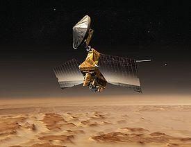 Vue d'artiste de la sonde MRO, scrutant la surface de Mars.