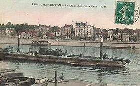 Carte postale de France: un toueur à Charenton-le-Pont, en 1908.