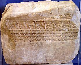 Bas-relief représentant une trière, vers 410-400 av. J.-C., musée de l'Acropole d'Athènes
