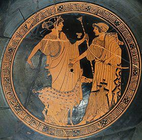 Apollon et sa sœur Artémis, médaillon d'une coupe de Brygos et du Peintre de Briséis, v.470 av. J.-C., musée du Louvre