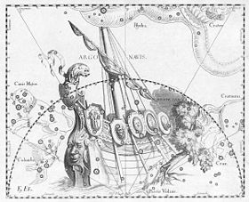 La contellation du navire Argo, illustration de l'Uranographia de Johannes Hevelius