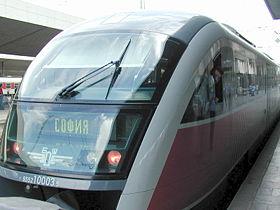 Rame Desiro des chemins de fer bulgares de l'�tat dans la gare centrale de Sofia