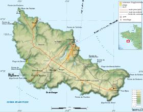 Carte topographique de Belle-Île-en-Mer.