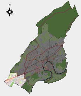 Localisation du quartier (en surbrillance) dans la commune de Besançon