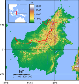 Carte topographique de Bornéo.