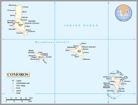 Carte des Comores.
