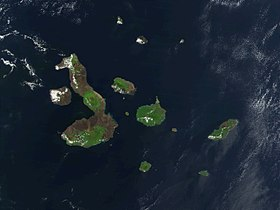 Image satellite des îles Galápagos.