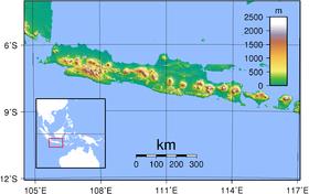 Carte topographique de Java