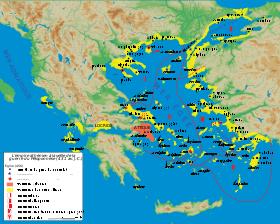 Domination athénienne (en jaune) sur la mer Égée en 431 av. J.-C.