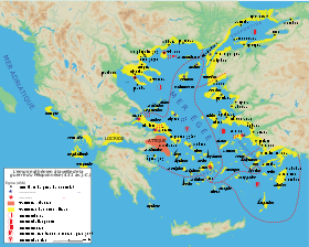 Domination ath�nienne (en jaune) sur la mer �g�e en 431 av. J.-C.