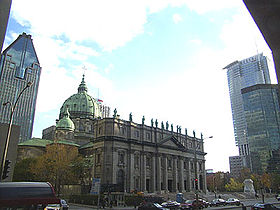 Centre-ville de Montréal, avec le 1000 De La Gauchetière, la cathédrale Marie-Reine-du-Monde et le 1250 René-Lévesque