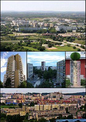 De haut en bas et de gauche à droite: Planoise depuis Rosemont, la tour de Planoise, les Époisses, la statue de la diversité et vue du quartier depuis la colline de Planoise.