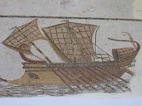 Trière romaine sur une mosaïque tunisienne