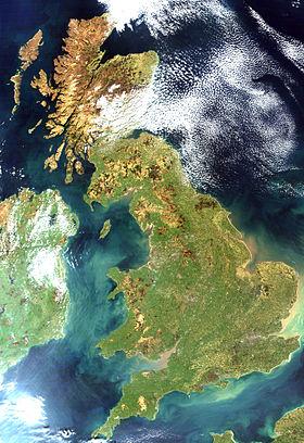 Vue satellite de la Grande-Bretagne