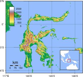 Carte topographique de Sulawesi.