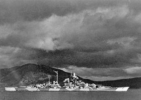Le Tirpitz dans le fjord d'Alta